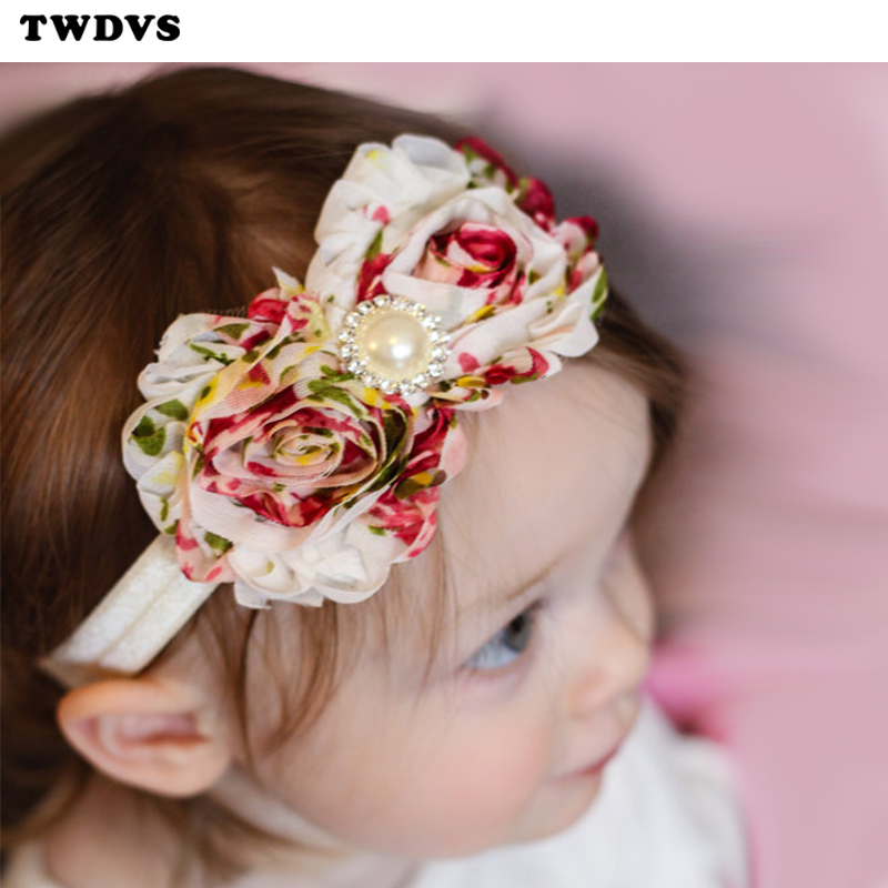 20Clrs Newborn Baby Girls Satin Ribbon Flower Headbands Photography Props Infant Baby Headband children Accessories W106