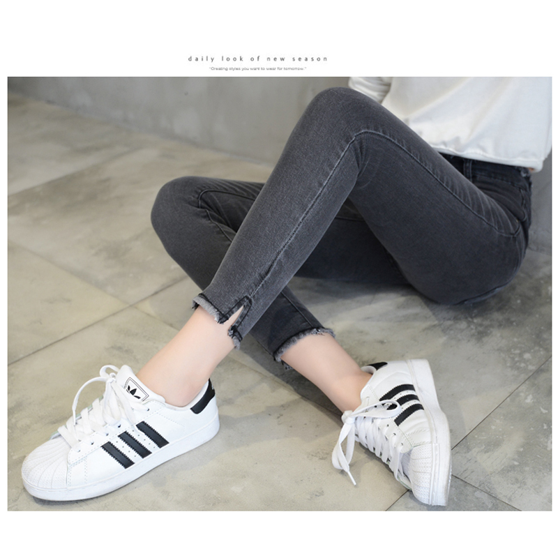 Jeans for Women 2019 New black/Grey Mid Waist Jeans Elastic Large Size Jeans Female Ankle-length pants vintage Woman Trousers