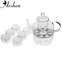 Arshen Teaware Set Include Heat Resistant 400ML Teapot Set Infuser Teapot with Warmer and 6 Pcs Double Wall Tea Cups Top Quality