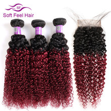 Soft Feel Hair 1B/Burgundy Ombre Bundles With Closure 99J Brazilian Kinky Curly Hair 3 Bundles With Closure Red Remy Human Hair(China)