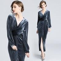 Sexy V Neck Velour Dress 2018 Elegant Bow Tie Sashes Waist Slim Velvet Dress Evening Party Dresses Lantern Sleeve Midi Dress