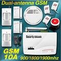 Новая 2 антенная беспроводная/проводная 900/1800/1900 МГц GSM сигнализация. Датчик дыма. Автоматическая удаленная постановка и снятие с сигнализации.