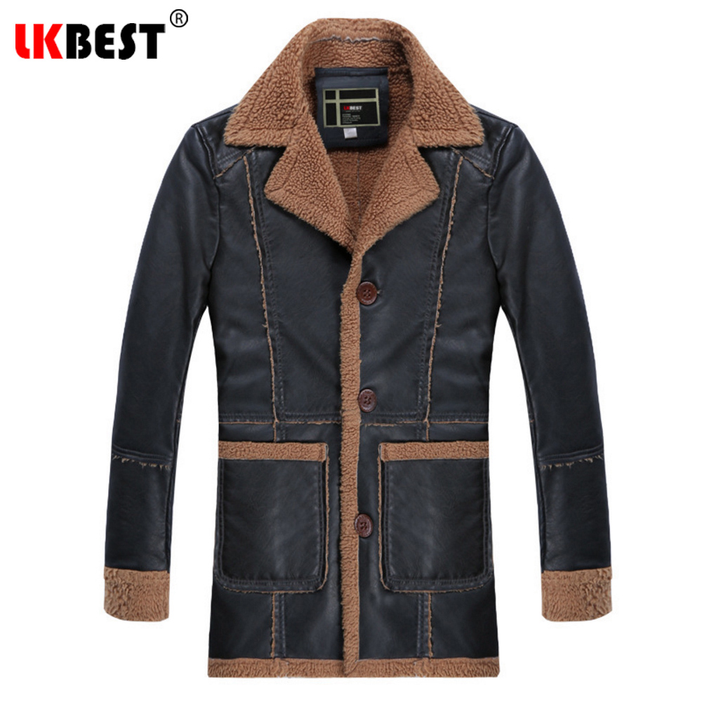 LKBEST 2018 Retro Winter Leather Jacket Men Thick Casual Leather Jackets and Coats Casual Men Outerwear Brand Clothing (PY22) dhl free shipping top brand warm a1 clothing man 100% vintage italy leather jackets thick men s genuine leather biker jacket