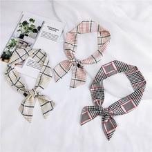 New Design Dot Geometric Stripe Print Silk Scarf Women Fashion Head Small Tie Bag Ribbons Scarves Neckerchief Female Hair