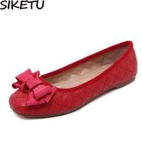 f544d9f0b4a SIKETU Women Comfort Soft Flat Heels Geometric Bow Knot Oxfords Loafers OL  Work Dress Casual Boat