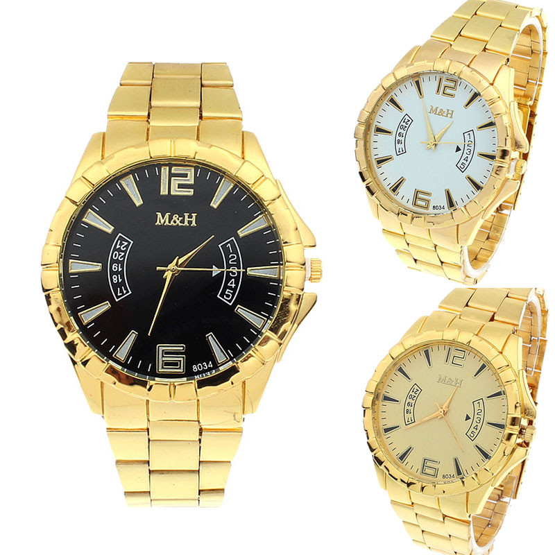 2020 New Brand Fashion Men Sports Watches Stainless Steel Sport Quartz Gold Big Dial Wrist Watches Watch Relogio Feminino