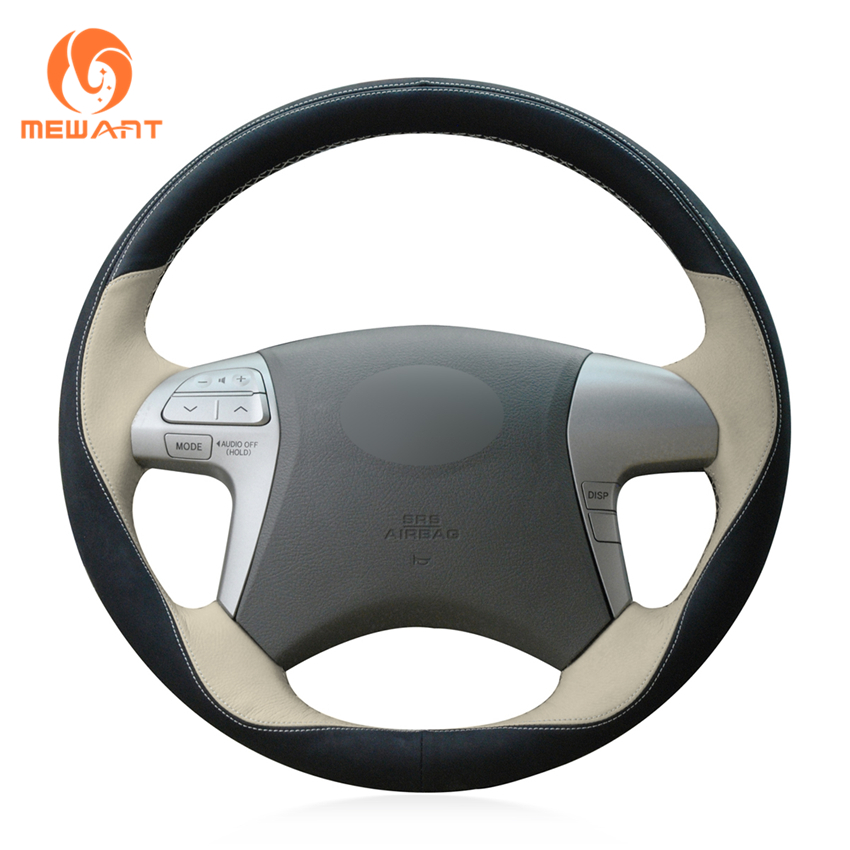MEWANT Black Beige Leather Black Suede Car Steering Wheel Cover for Toyota Highlander 2008 2009 2010 2011 2012 2013 2014 Camry mewant wine red leather black suede car steering wheel cover for chevrolet cruze 2009 2014 aveo 2011 2014 orlando 2010 2015