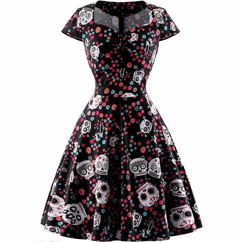 Halloween crânio impressão gótico vestido feminino vintage gola quadrada envolto peito mais tamanho 4xl balanço rockabilly pino até vestidos retro
