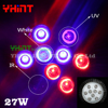 1pcs 27W High Quality UV IR Blue Red Orange Whitehigh Power E27 Led Plant Grow Lamps