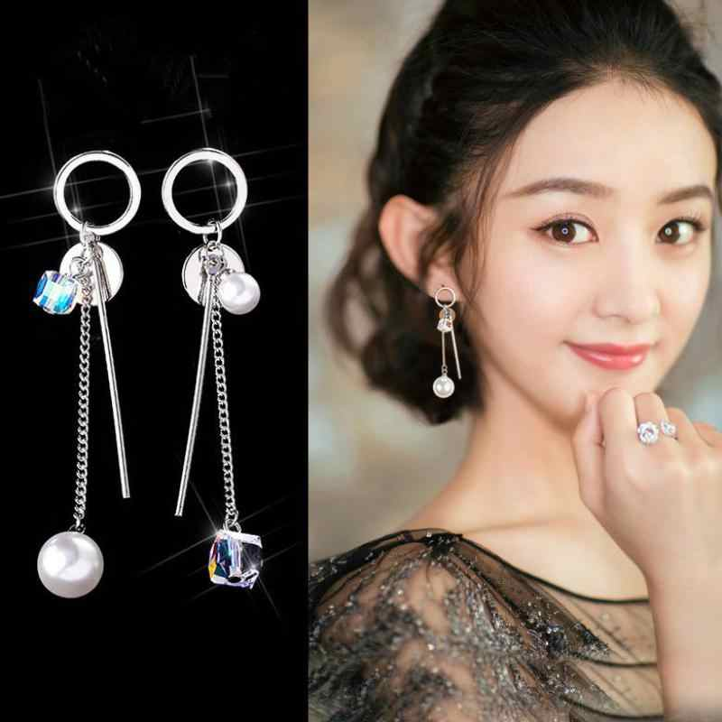 Korea Simple Asymmetrical Exquisite Crystal Temperament Earrings Simulation Pearl Long Paragraph Pendant Fringed Female Earrings