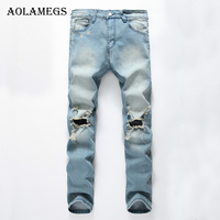 Aolamegs Mens Jeans Tide Explosion Section Hole Stretch Denim Blue Black Men S Straight Jean Pants