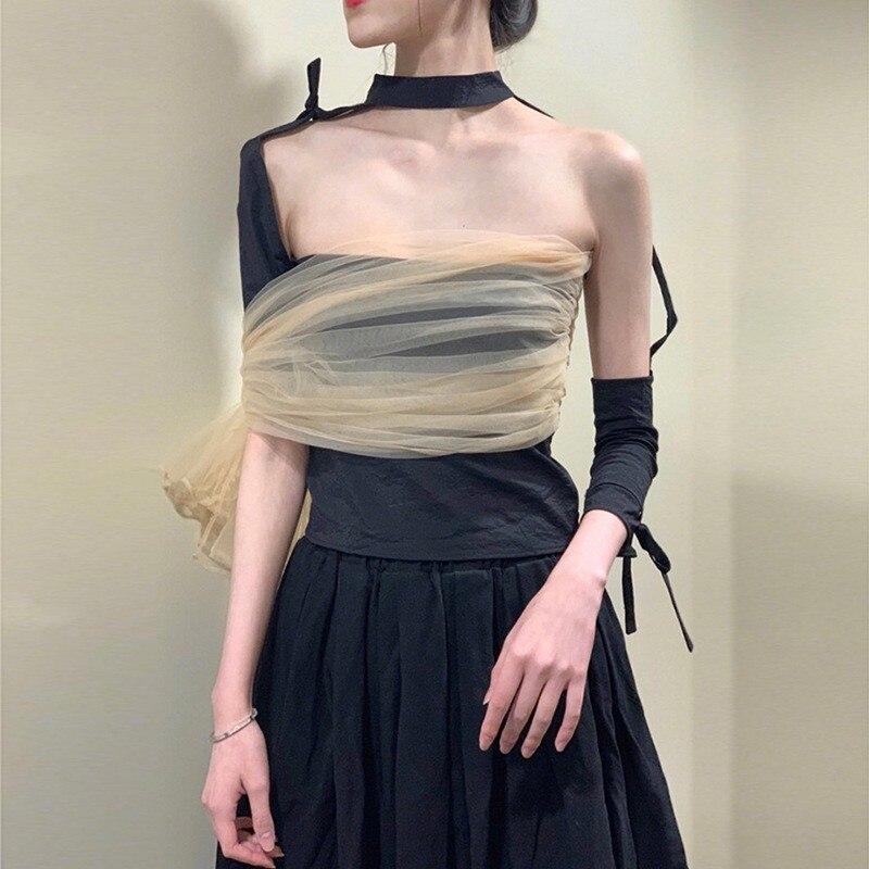 TVVOVVIN femmes T-shirt irrégulier maille Patchwork Bandage couleur correspondant Sexy T-shirts asymétrie tout Match noir T-shirt 2019 V221