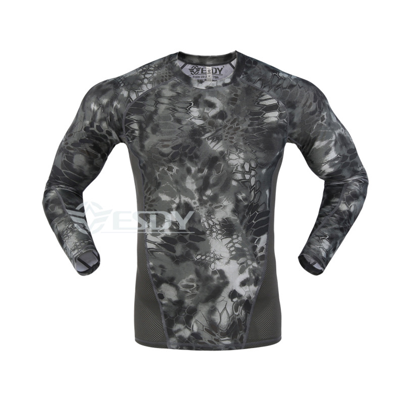 Men Army Camo Compression Long Sleeve O-neck Quick Dry T-shirt Tactical Combat Sports Tights Outdoor Tee Tops Base Layer T Shirt