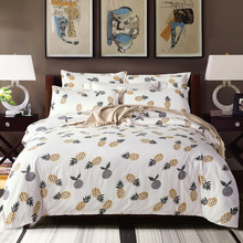 Pineapple bedding set nordic comforter bedspread double bed flat sheet set duvet cover home queen king size adult bed linens set(China)