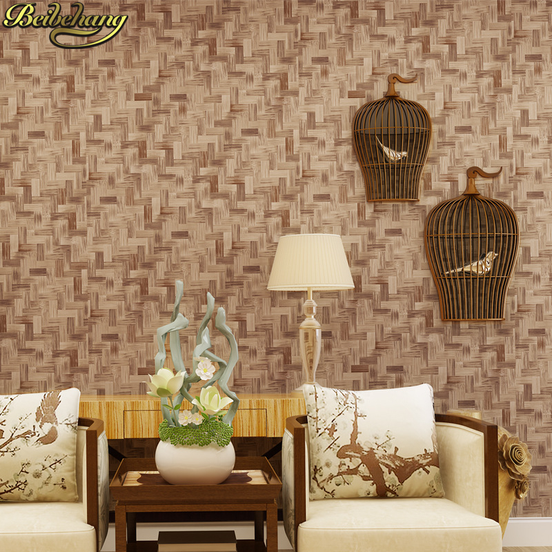 beibehang simulation straw mat bamboo rattan papel de parede 3D wallpaper for living room bedroom TV background wall paper roll beibehang elegant bamboo wallpaper 3d papel de parede roll livingroom sofa background wallpaper green bamboo forest wall paper