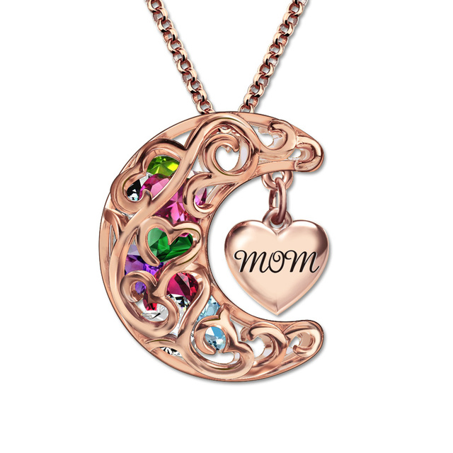 Rose gold color mommum pendant birthstones necklace love you to rose gold color mommum pendant birthstones necklace love you to the moon and aloadofball Image collections