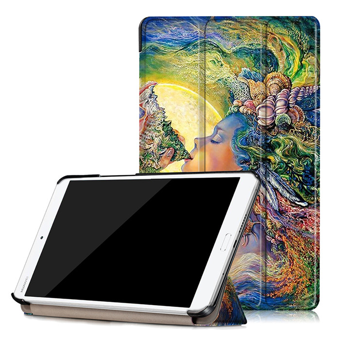 100Pcs PU Leather Print Stand Cover Case For Huawei Mediapad M3 BTV-W09 BTV-DL09 8.4 Inch Tablet + Screen Protector Gift
