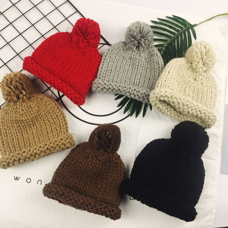 Handmade Winter Beanies For Baby Boys Girls Knitted Acrylic Hats Skullies And Beanies Knit Big Pompom Caps Kids Beanie baby skullies boys caps headwear chapeau beanies