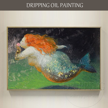 Excellent Painter Pure Hand-painted High Quality Funny Animal Mermaid Oil Painting on Canvas Fat Sea Mermaid Oil Painting