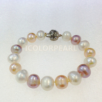 WEICOLOR Big 12 13mm Potato Nearround Multicolor Natural Freshwater Pearl Jewelry Bracelet With A Strong Magnet Clasp