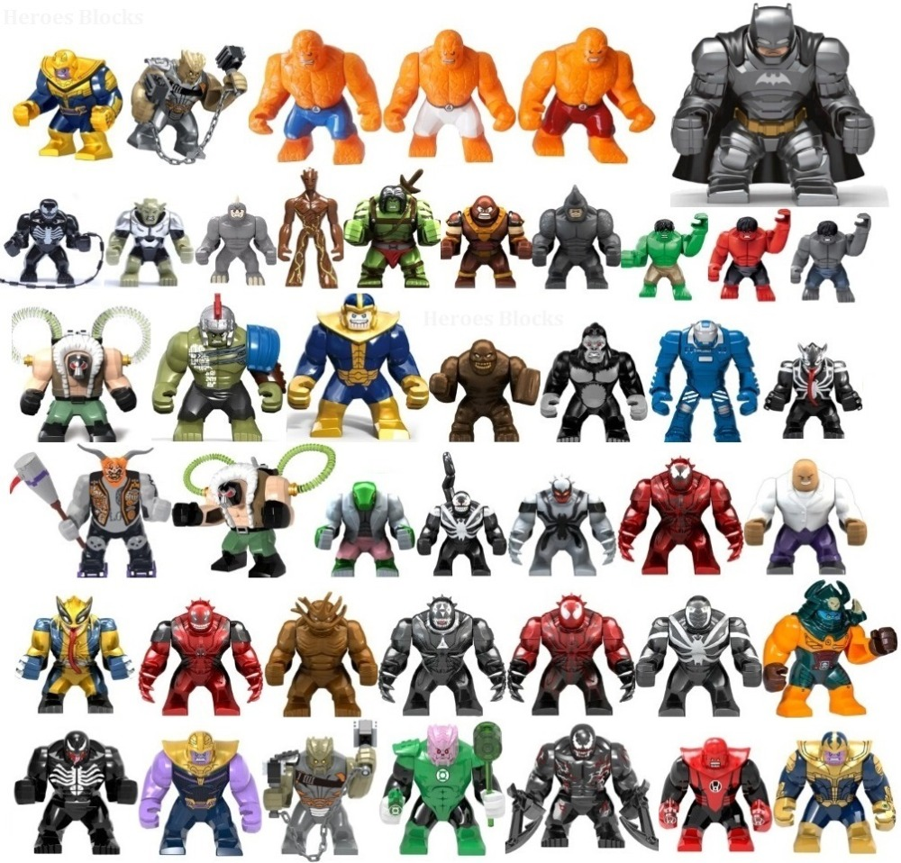 1PC Large Super Heroes Movie Anti Venom Batman Thanos Hulk Cull Obsidian Building Blocks Bricks Toys Kids Gift Compatible Legoed