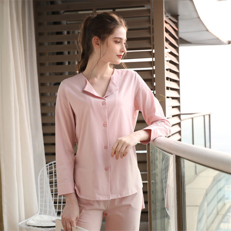 Women's pajama sets cotton turn down collar pink blue color spring summer high quality sweet pyjamas for ladies