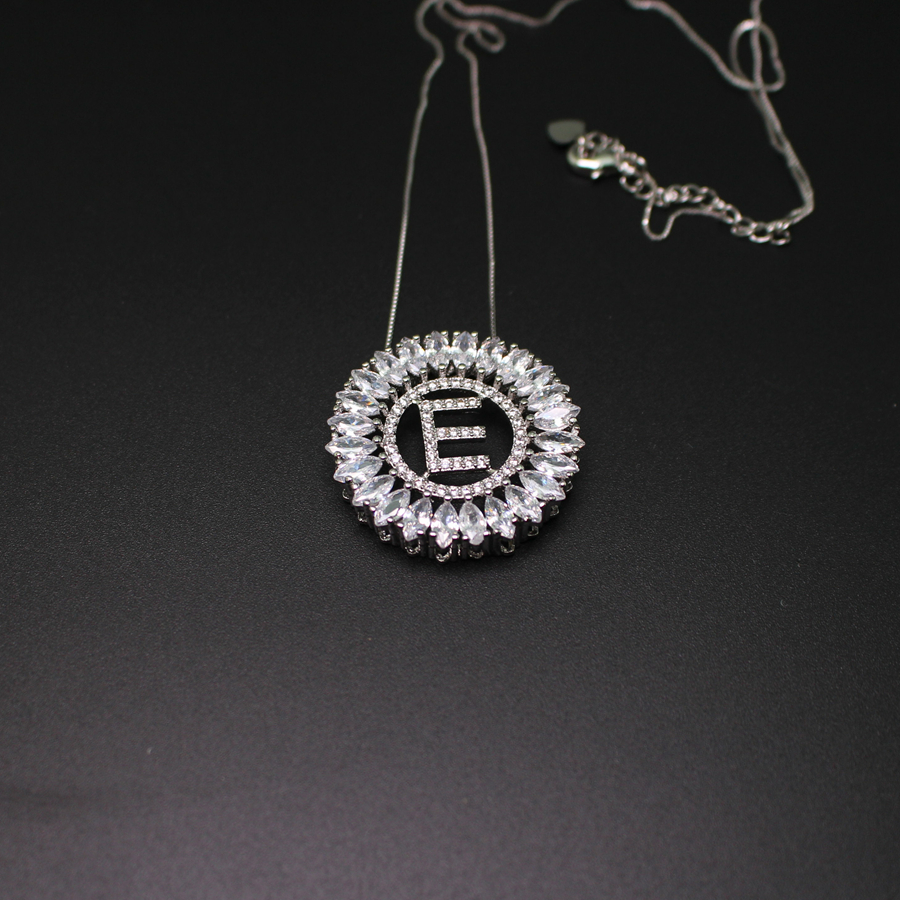 letter e pendant necklace with aaa cubic zirconia white gold plated fashion jewerly for women