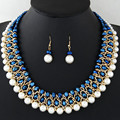 Imitation Pearl Jewelry Sets For Women Fine African Beads Jewelry Set Gold Plated Multilayer Statement Necklace Earrings Set