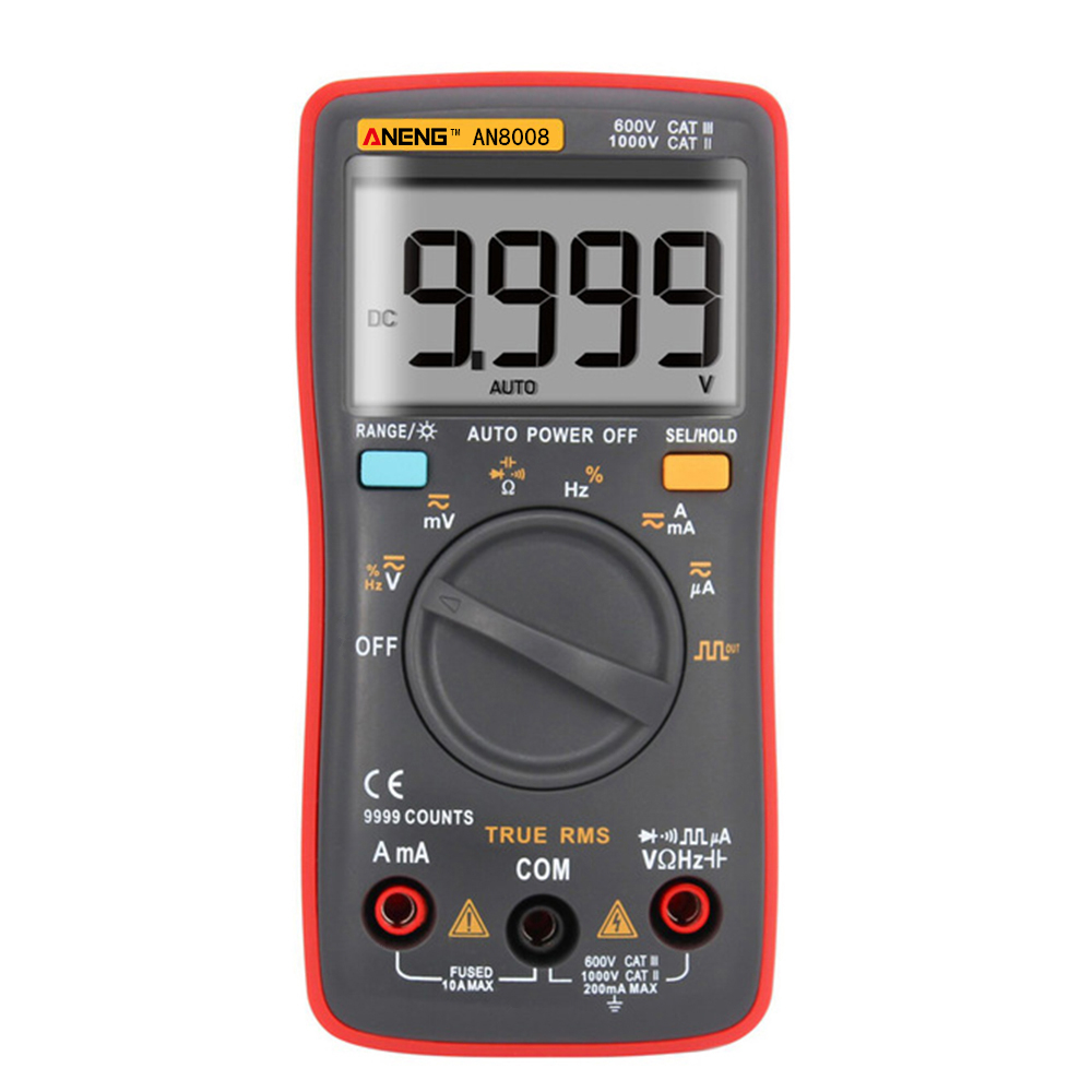 Image 2 - AN8008 Orange True RMS Digital Multimeter 9999 counts transistor tester capacitor tester automotive electrical rm409b clip test-in Multimeters from Tools