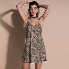 4dd6a8d64eb Пикантные для женщин с леопардовым принтом мини платье V средства ухода за  кожей шеи Спагетти ремень без рукавов Свободные вечер.