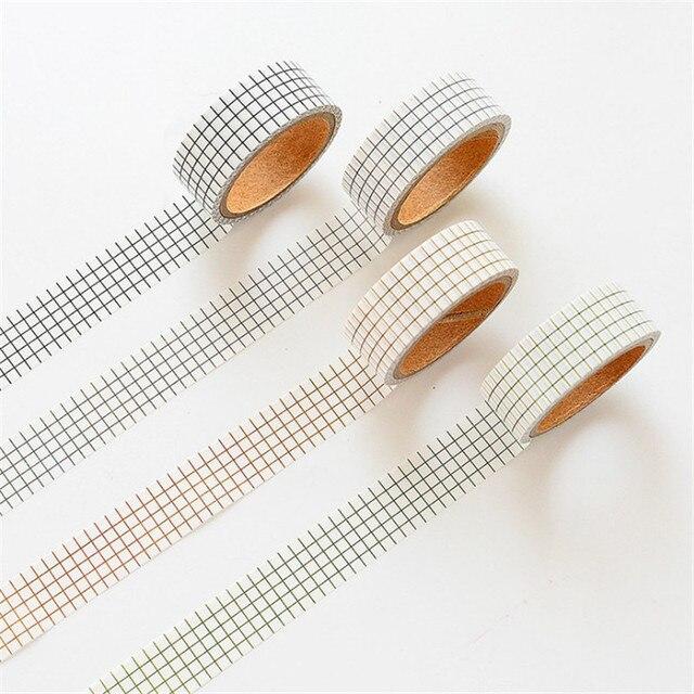 4 rollos/lote de cinta de enmascarar Washi japonesa Set de cinta de papel de puntos de rejilla cinta adhesiva cinta Washi DIY Scrapbooking Sticker