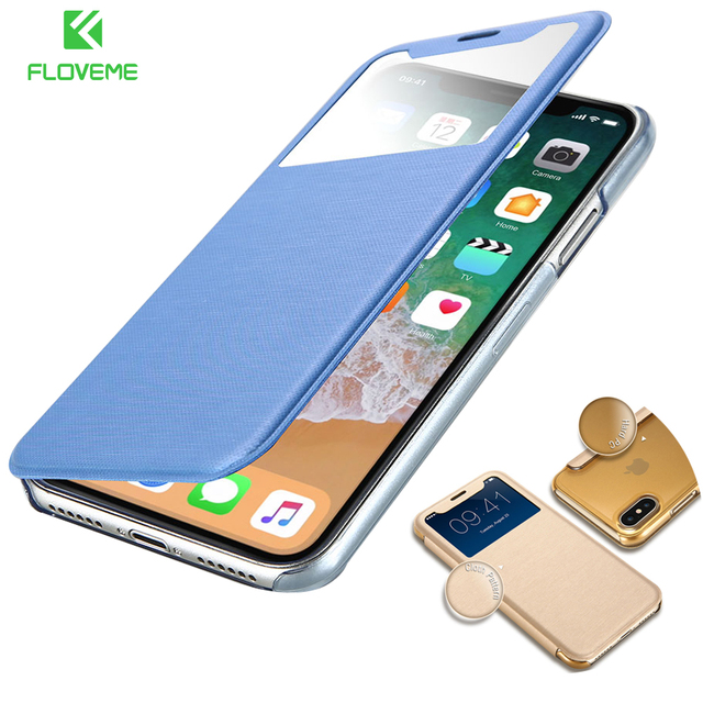 FLOVEME Leather Case For iPhone 7 7 Plus For iPhone X Flip Clear Window Hard Back Phone Bag Case For iPhone 6 6s Plus 7 7 Plus