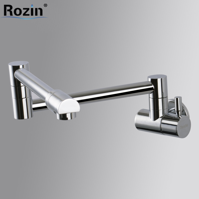 Wall Mount Chrome Brass Cold Water Bathroom Kitchen Faucet Single Handle Stretch Folding Kitchen Water Taps