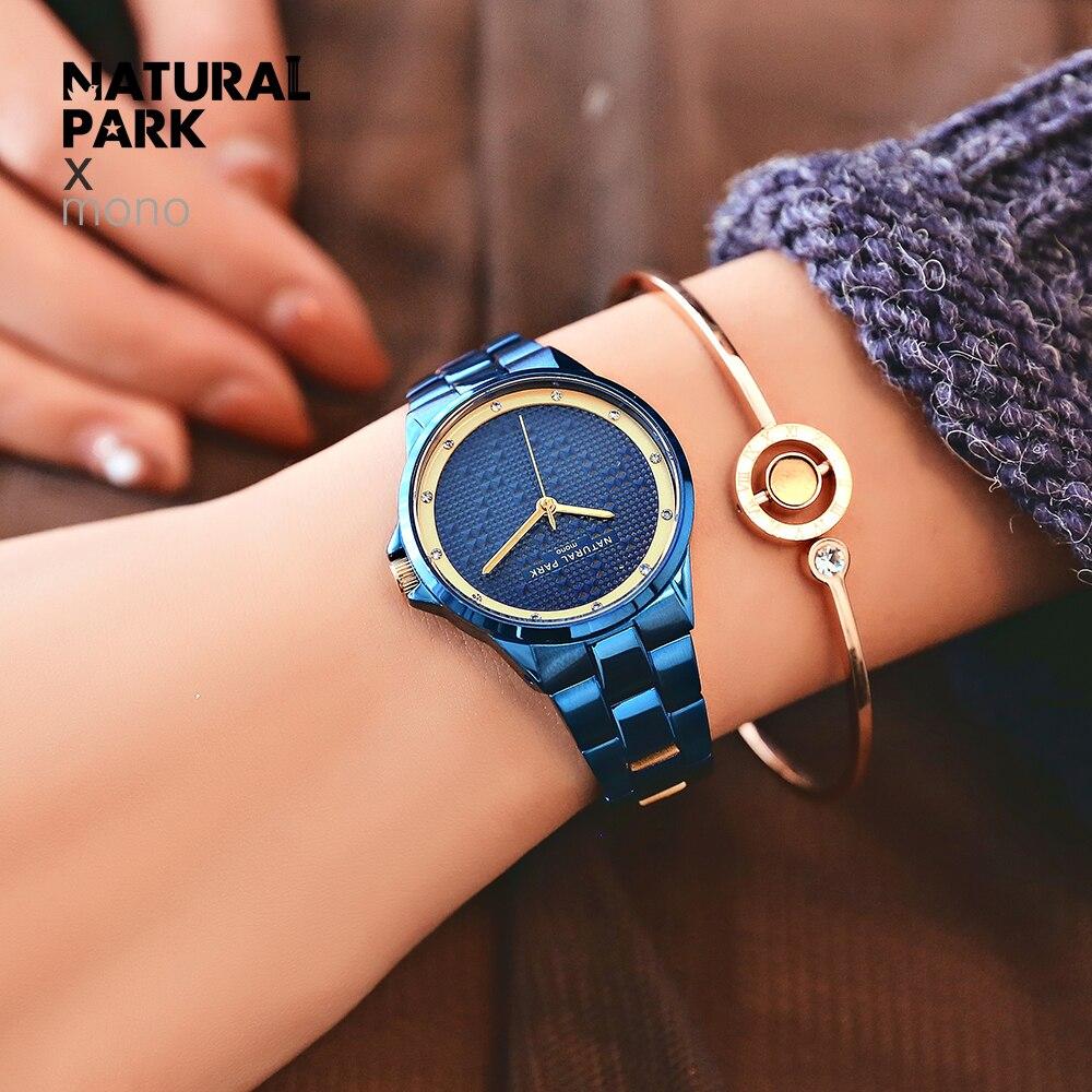 NATURAL PARK Women Watches Fashion Quartz waterproof Ladies Stainless steel Watch Women Rhinestone Watches relogio feminino New