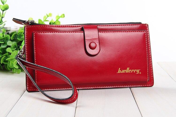 Baellerry дамы кошелек HASP яркий кожи длинный тонкий Воск кожаный бумажник Для женщин функциональный держатель карты Обложка для паспорта карма...