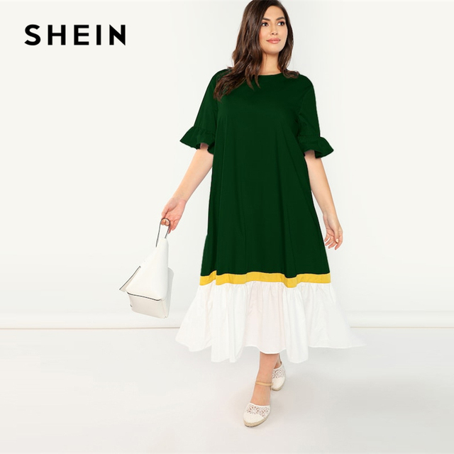 SHEIN Plus Size Green Ruffle Cuff and Hem Colorblock Flounce Sleeve ...