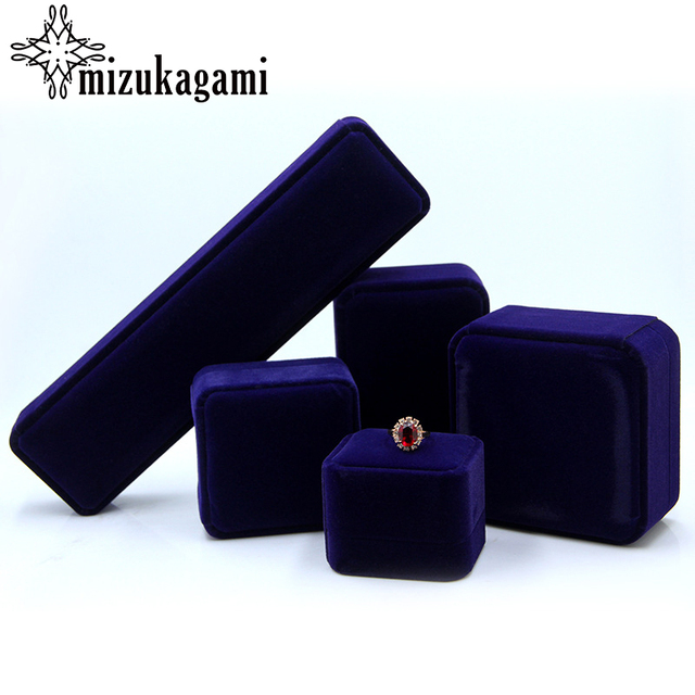 1Pcs Blue Velvet Jewelry Box Chain Box Earrings Bracelet Ring