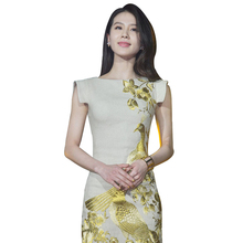 High Quality Celebrity Same Style 2016 Spring Summer New Fashion O-Neck Middle-long Slim Embroidery Women Dresses NP-SD118