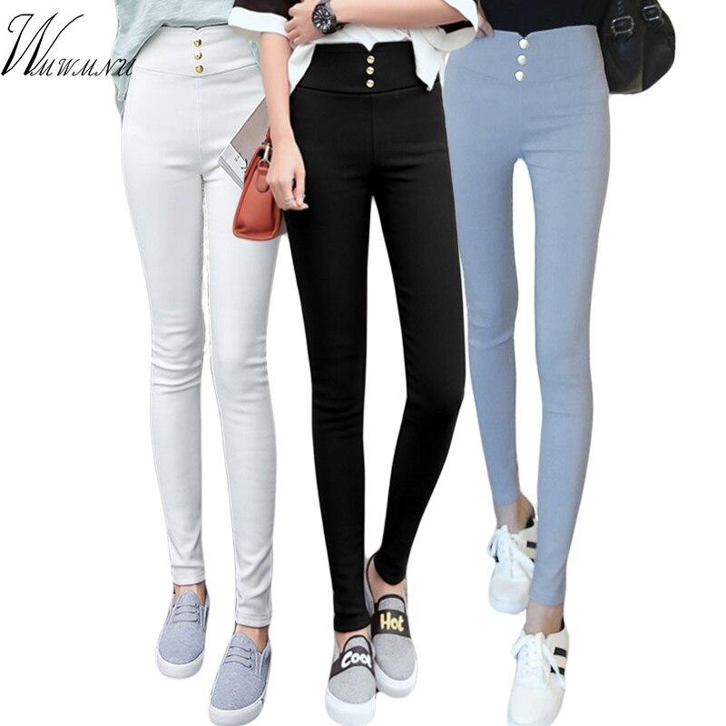 High Waist Stretch Golden Button Black Pencil Pants Plus Size Women Clothing Slim Pants Sexy Women Lady Elastic Skinny Trouser