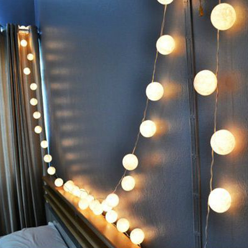 35 Balls/Set Cotton Balls String Lights/Fairy/Lamp White Handmade For Home/Patio/Christmas Decoration/Lighting, CE/GS/SAA/UL