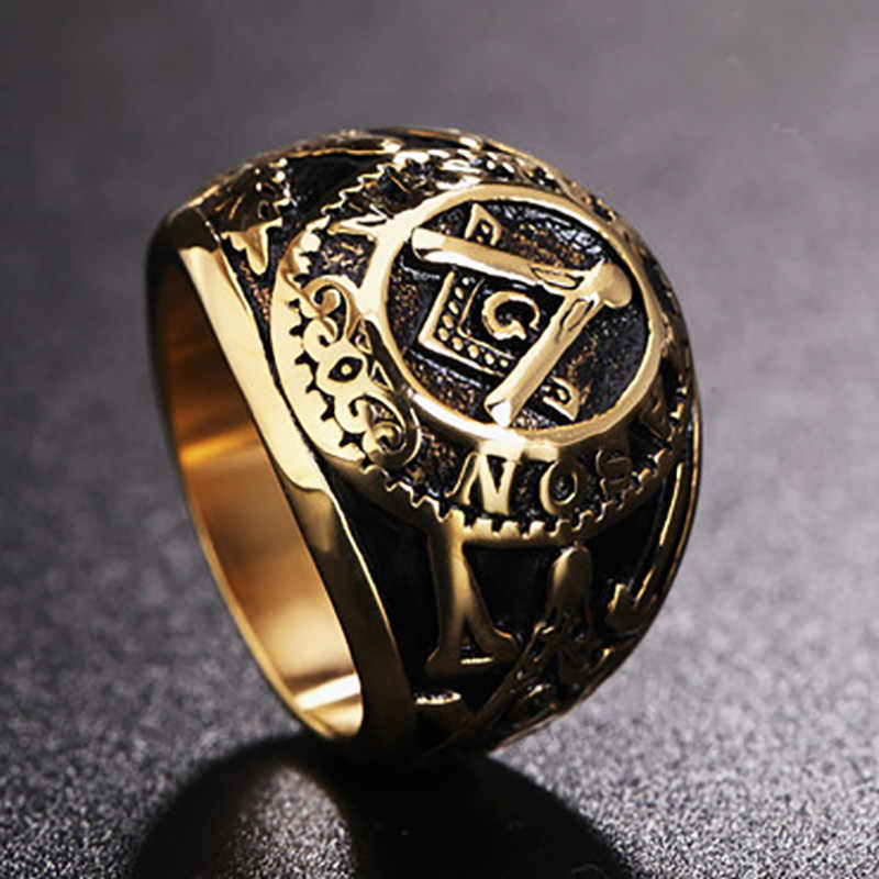 Punk Vintage Past Master Masonic Signet Rings Men Gold Color Titanium Stainless Steel Mason Cool Rings For Men Street Jewelry