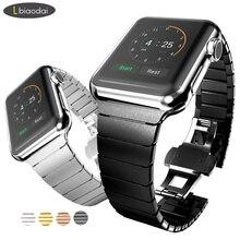 ed1f71d9c47 Faixa de relógio ligação Pulseira para Apple 42mm 38mm iWatch 4 banda 44mm 40  milímetros Inoxidável pulseira de relógio pulseira.