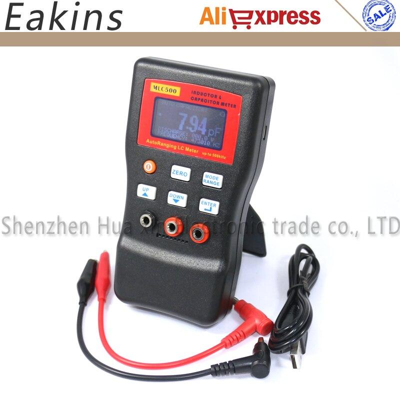 Livraison gratuite MLC500 haute précision AutoRanging LC mètre inducteur et condensateur compteur 1% précision 500 KHz test connecter PC stockage