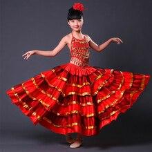 Красные юбки для Фламенго, детская длинная юбка для соревнований, детская одежда для бальных танцев, испанская одежда, праздничная одежда для фламенко для девочек, DNV11150