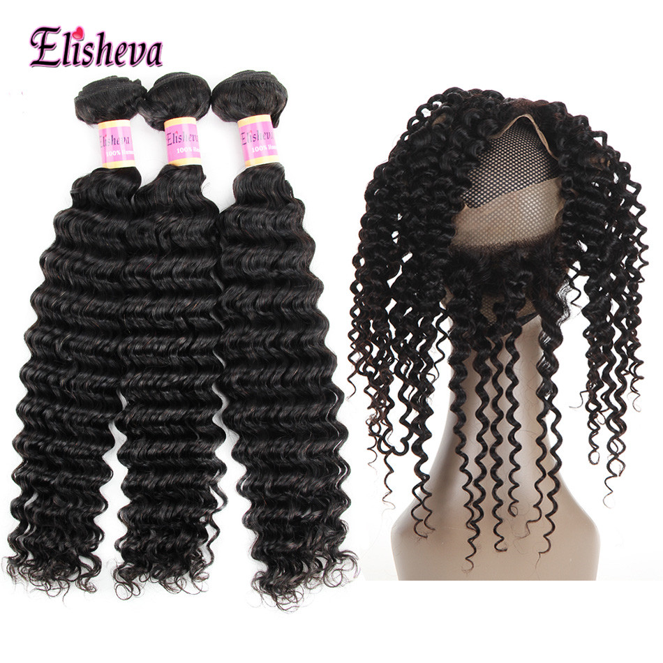 Elisheva Malaysian Deep Wave Bundles With 360 Lace Frontal Closure 100 Human Hair Bundles With 360