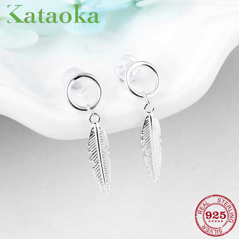 High quality 925 Sterling Silver Women Drop Earrings Feather Earings Trendy Jewelry Cute Luxury Design Girl Gift 2018