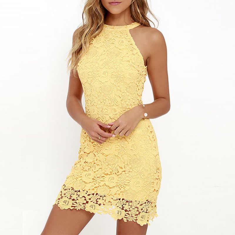 우아한 레이스 민소매 핑크 미니 드레스 여성 여름 플러스 크기 5XL 솔리드 연필 드레스 2020 패션 섹시한 할터 Bodycon Vestido