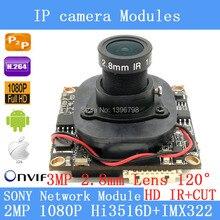 "SONY IPC Hi3516D IMX322 1920 x1080P 1 / 2.8 ""2.0MP IP Camera Module Board 3MP 2.8mm 120 Wide-angle Security Camera + HD IR-CUT"