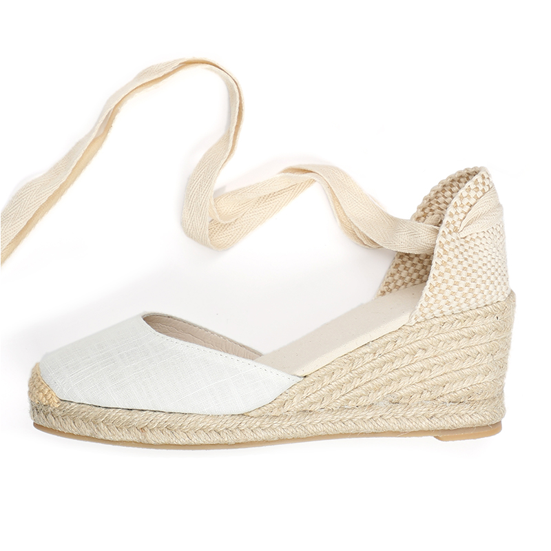 Linen upper ankle strap close toe 7cm mid height women summer wedge sandals