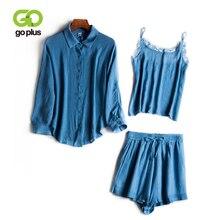 GOPLUS 3PCS Set Womens Summer Casual Chiffon Long Sleeve Tshirt V-Neck Lace Tank Tops Elastic Waist Bow Shorts Sets C8088
